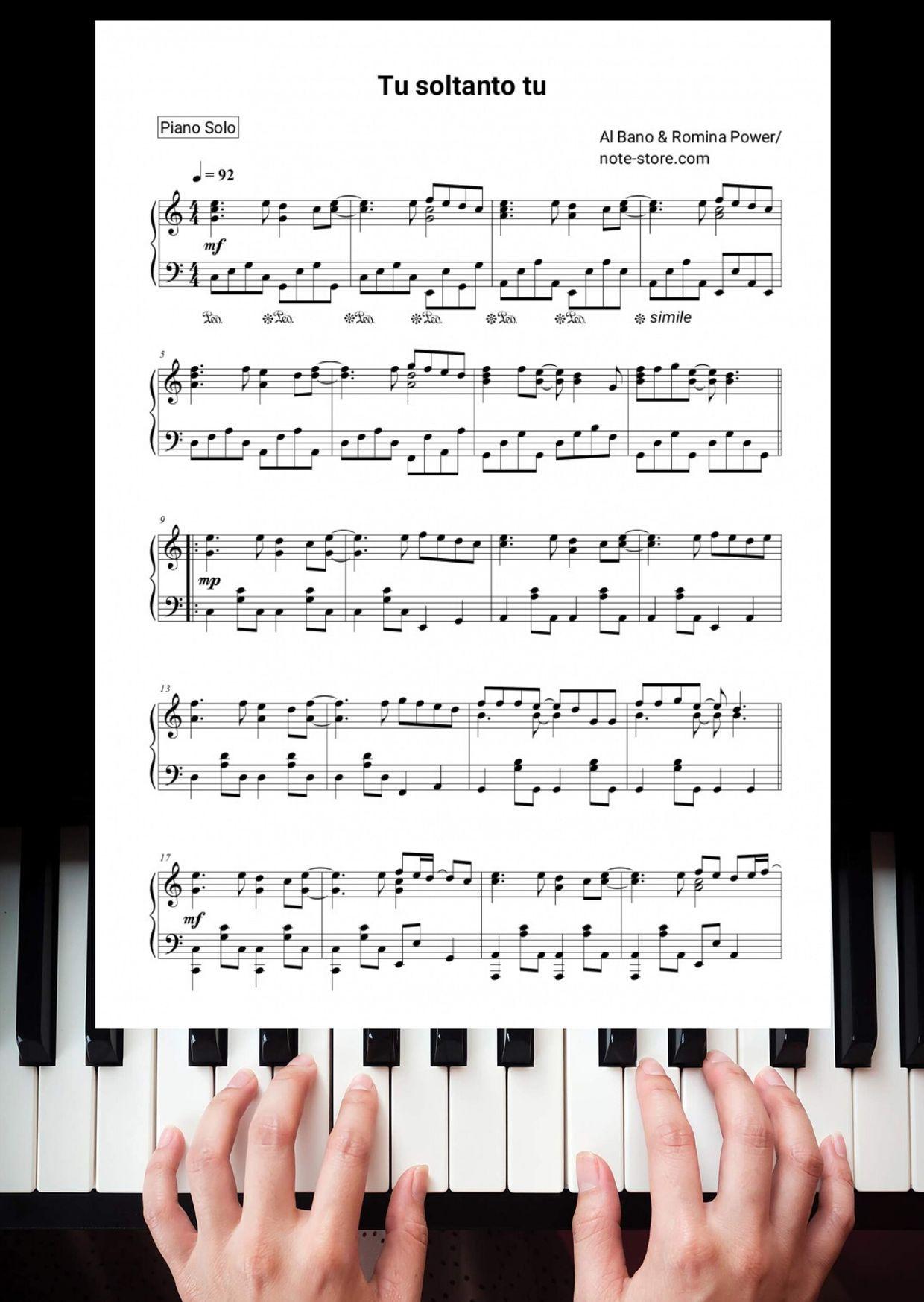 Sheet Music Al Bano Romina Power Tu Soltanto Tu For Piano Piano Solo Sheet Music Evanescence My Immortal