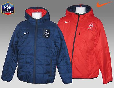 nike mens france football reversible bench coat jackets navy red
