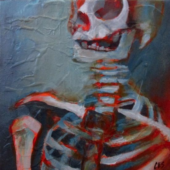 Orig. HALLOWEEN Painting CES - OUTSIDER Skull ABSTRACT Ebola Skeleton EBSQ Art #MyStyle