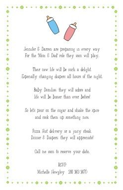 Shower invitation wording diapers and dinners baby shower shower invitation wording diapers and dinners filmwisefo