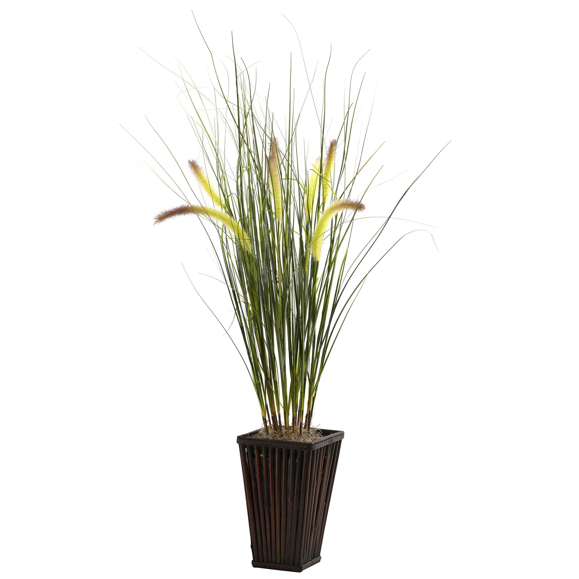 Grass With Cattails Bamboo Planter Small Artificial Plants Bamboo Planter Artificial Plants