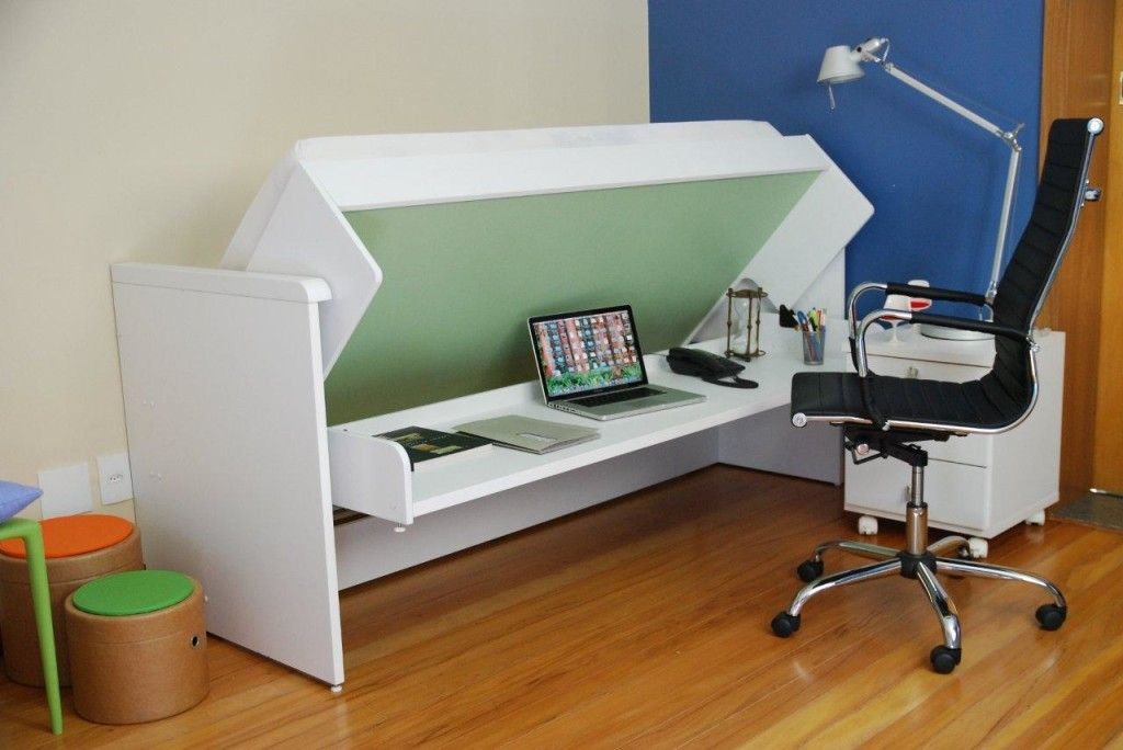 Amazing Ulisse Bed And Desk Space Saving System : Amazing White Bed Desk Space  Saving Concept Ideas
