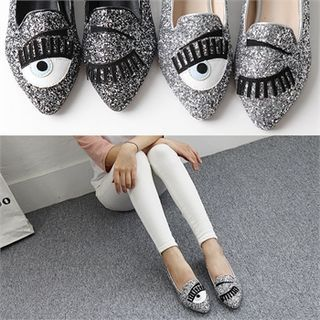 Buy 'Reneve – Eye-Appliqué Glitter Flats ' with Free International Shipping at YesStyle.com. Browse and shop for thousands of Asian fashion items from South Korea and more!