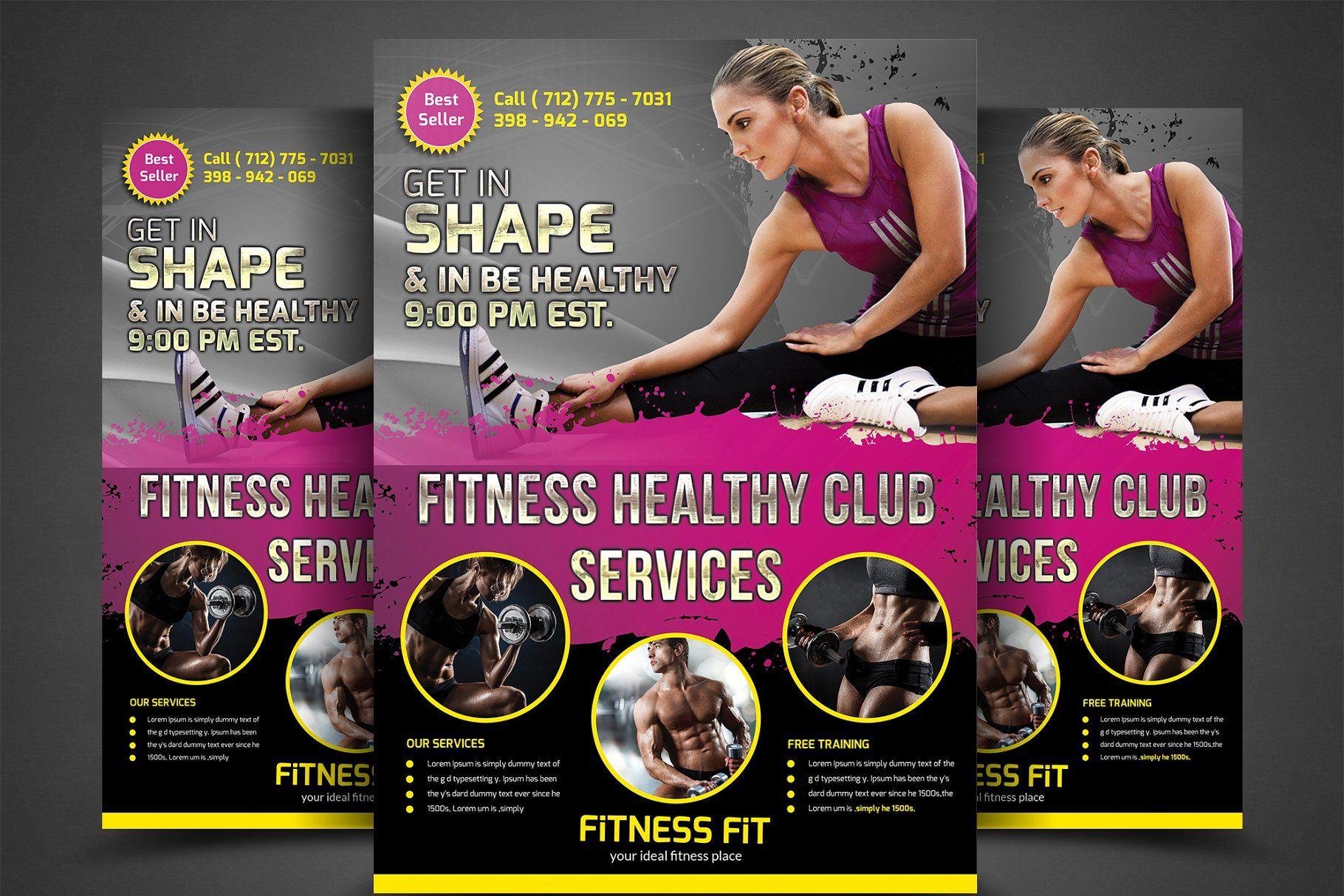 Fitness gym flyer bundle template flyergymfitness