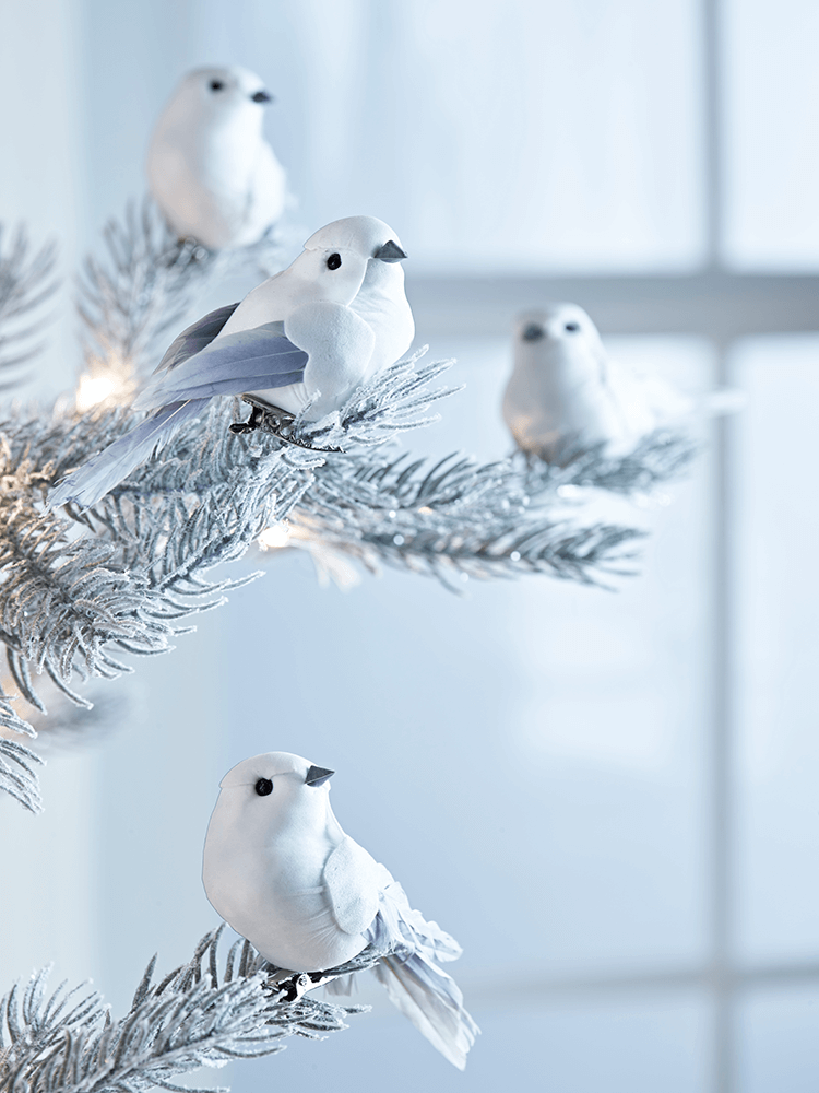New Twelve Grey Feathered Birds Tree Decorations It S Never Too Early For Christmas Indoor Living
