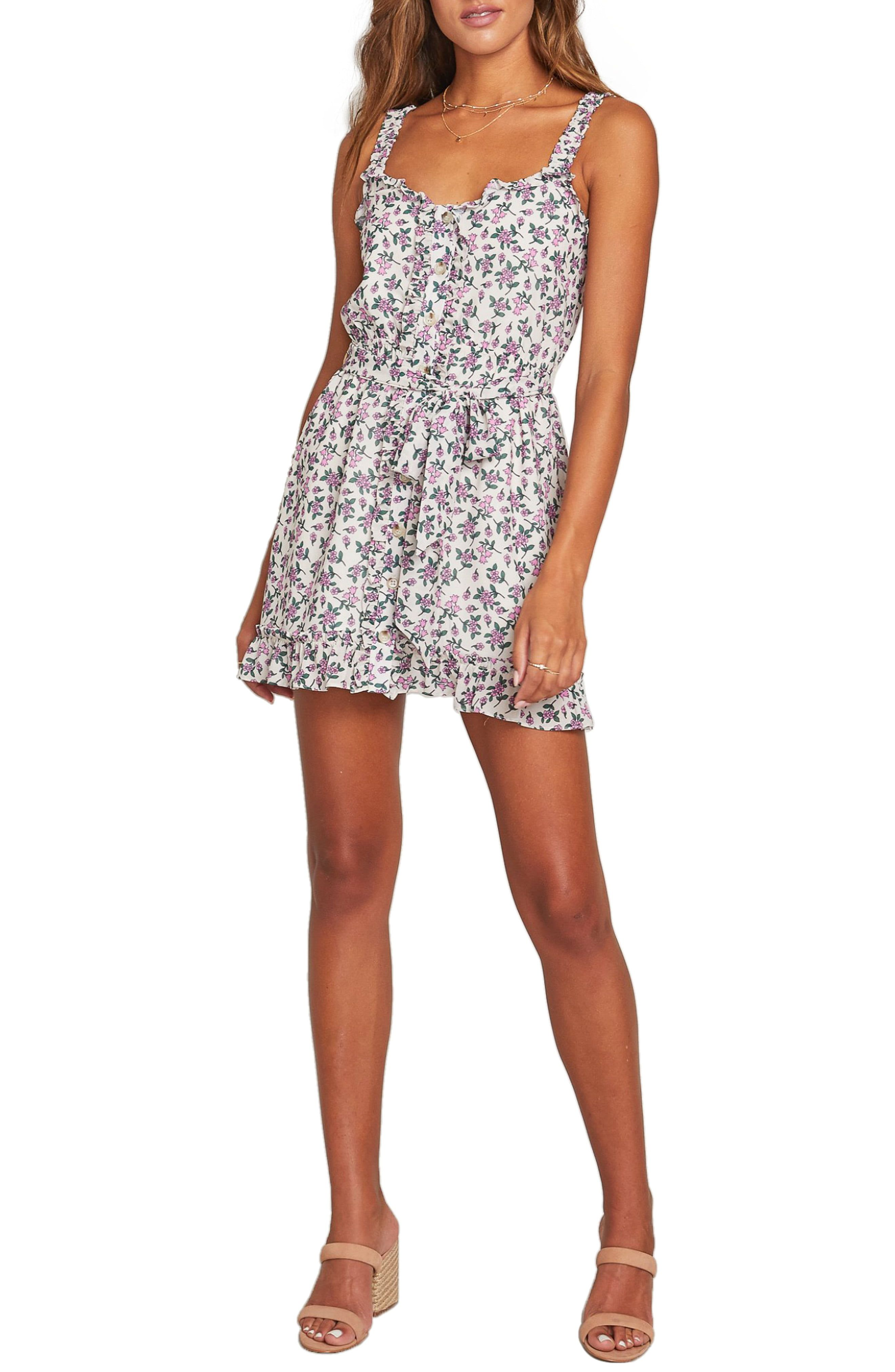 Women's Lost + Wander Garden Party Floral Minidress, Size X-Small – Ivory