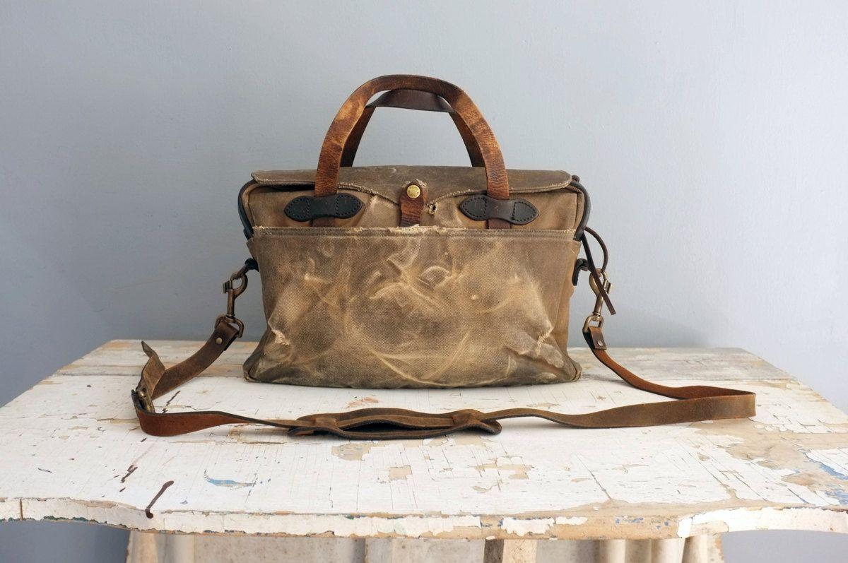 Vintage Filson 257 Briefcase Bag Heavily Distressed By Abrshop 235 00 Filson Filson Bags Filson Briefcase