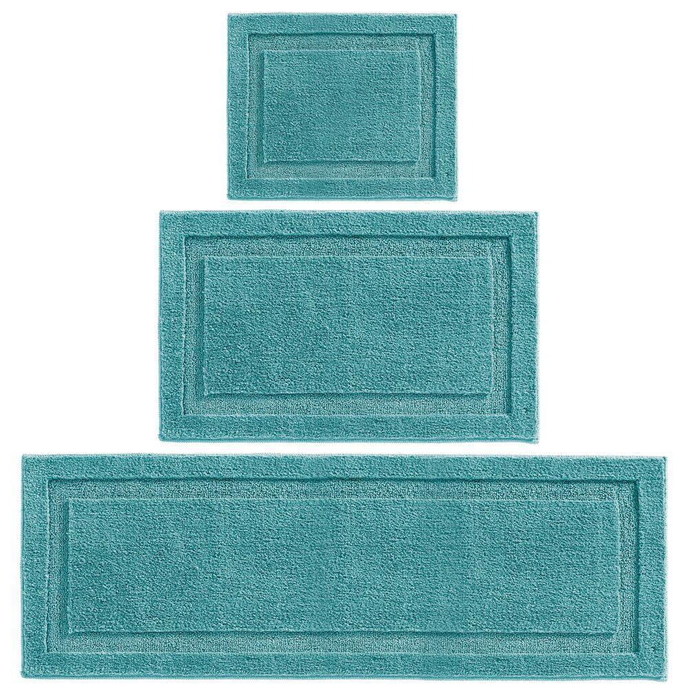 Mdesign Microfiber Polyester Bathroom Spa Mat Rugs Runner Set Of 3 Teal Blue Bathroom Rugs Rug Runner Bath Rugs [ 1000 x 1000 Pixel ]