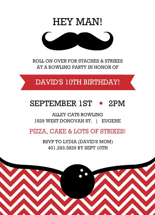 Red And Black Mustache Strike Bowling Birthday Invitation