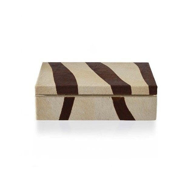 Decorative Lidded Storage Boxes Williamssonoma Zebra Hide And Brass Box $120 ❤ Liked On