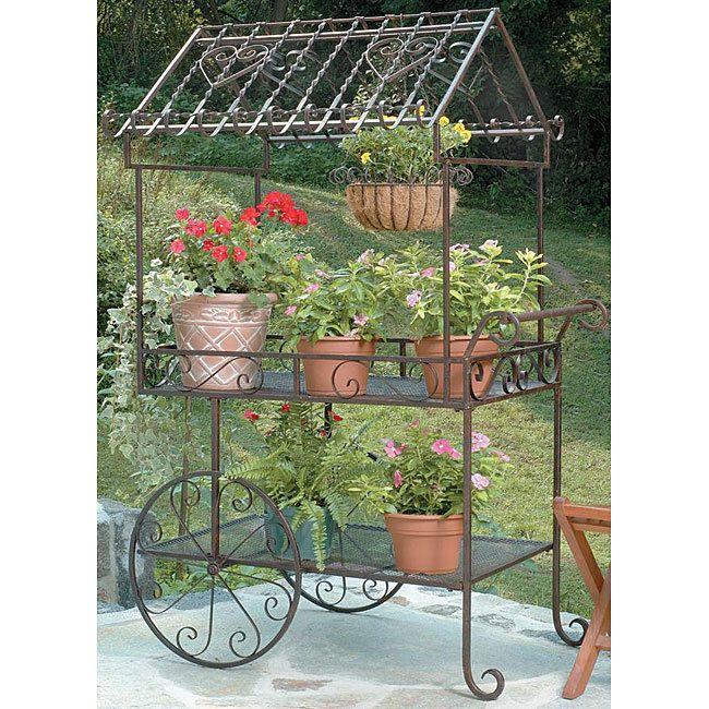 New Vintage Wrought Cast Iron Flower Garden Bench Cart Wagon Patio  Furniture Pot