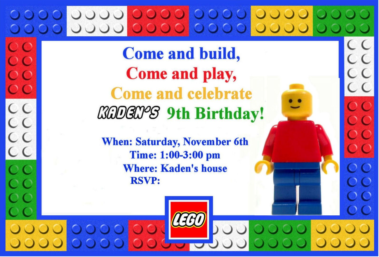 Dazzling fabulous colorful lego party invitation template for kids i threw this birthday party for my son last november right before we moved my son loves legos and requested a lego themed party stopboris Gallery