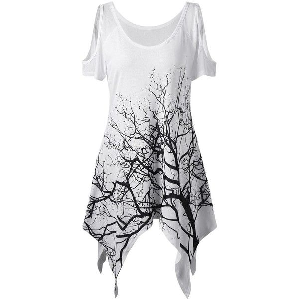 Life Tree Printed Asymmetric Cold Shoulder T Shirt (145 SEK) ❤ liked on Polyvore featuring tops, t-shirts, open shoulder tee, cut shoulder tops, cut out shoulder top, asymmetrical tops and cut out shoulder tee