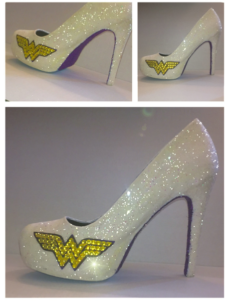 Wonder Woman white sparkly glitter bling superhero heels pumps peep tor  high low heel heights comfortable for wedding bride bridal party sweet 16  birthday ... 9e263ea8d7