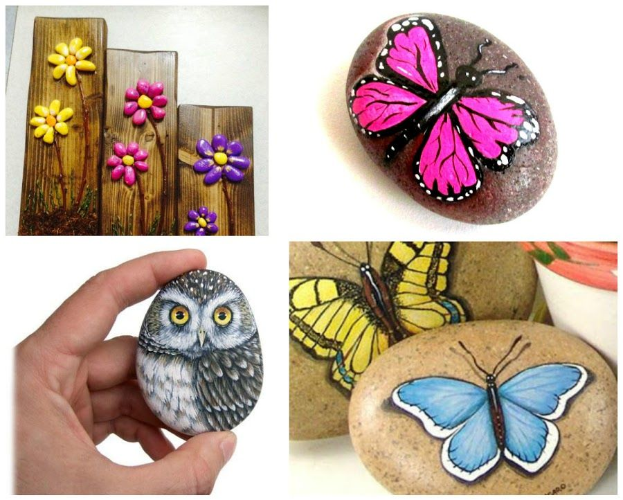 Decoramos piedras con mariposas for Pintar pared de piedra