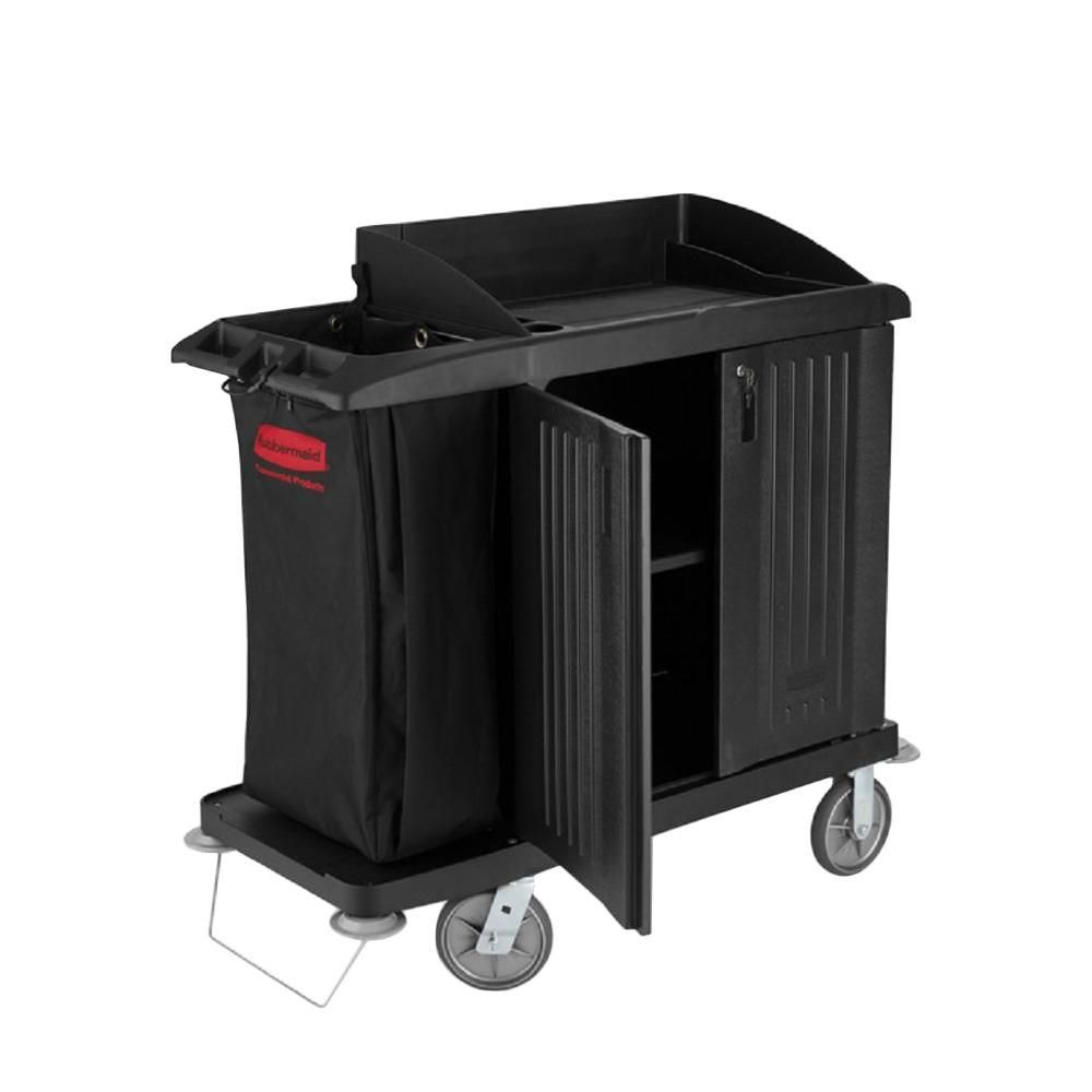 Compact Housekeeping Cart with Doors, Black