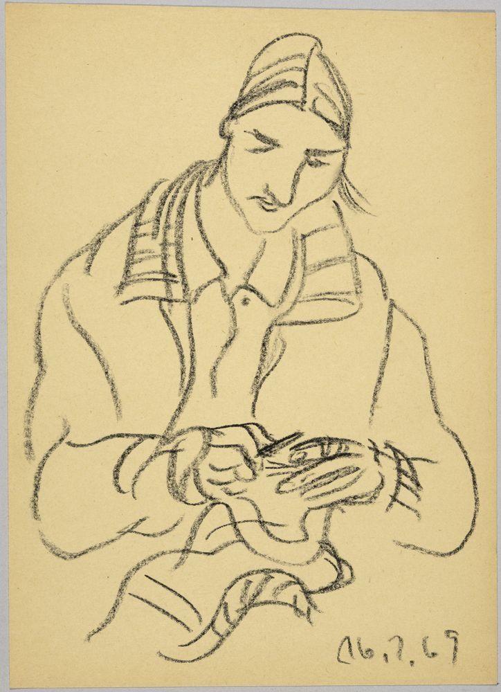 ohne Titel [Anne in Jacke bei Handarbeit in Kreide
