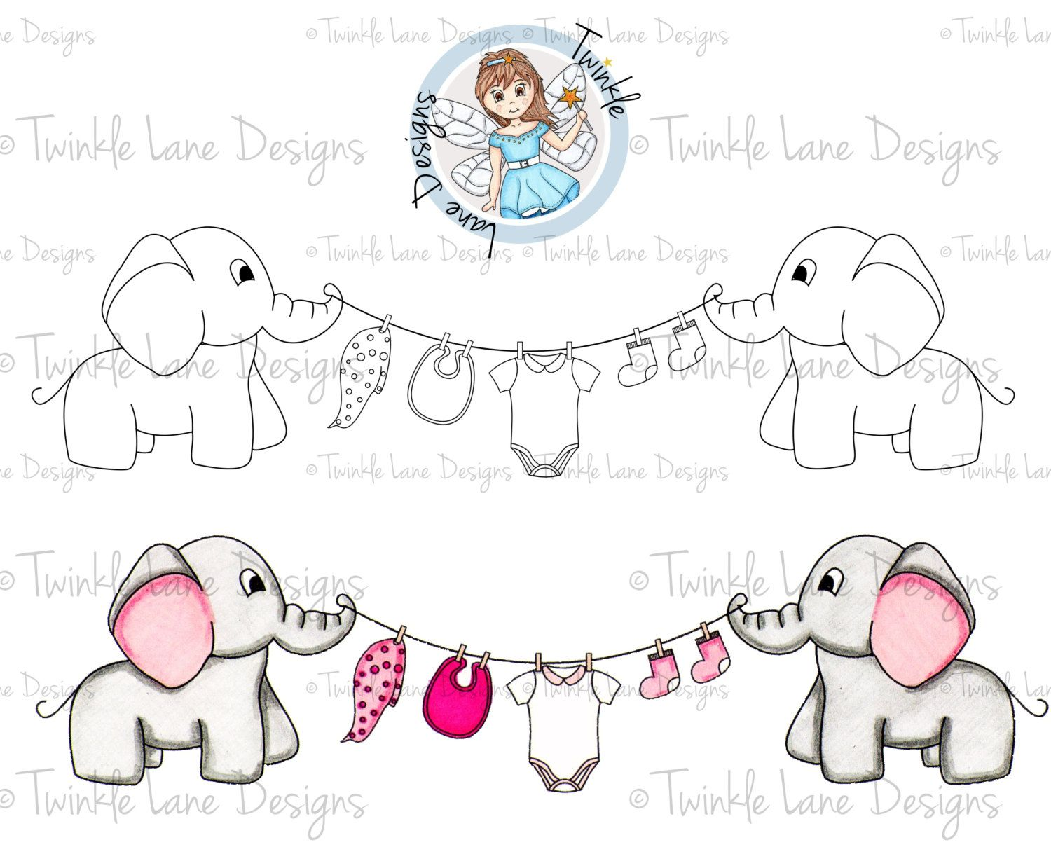 Baby Elephant, Digi Stamp, Baby Clipart, Elephant Clipart, Baby ...