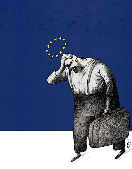 Ares  (2015-10-09)  A cartoon about inmigrants in Europe Welcome to  Europe!