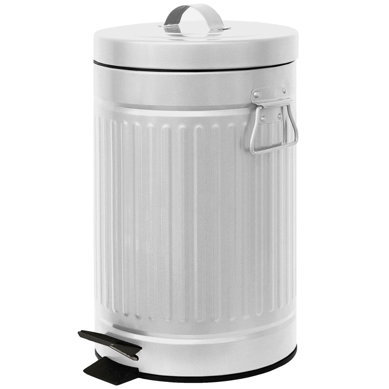 Retro Metal White Kitchen Trash Can At Home In 2020 Farmhouse Kitchen Trash Cans Kitchen Trash Cans Bathroom Trash Can