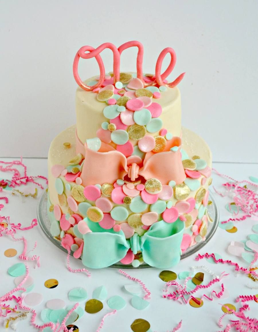 Confetti themed first birthday cake Birthday cake kids