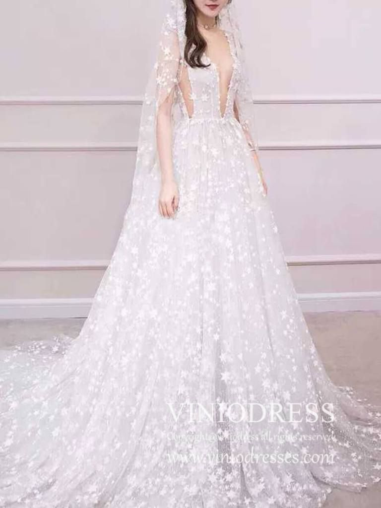 Haute couture glitter star beach wedding dresses with star