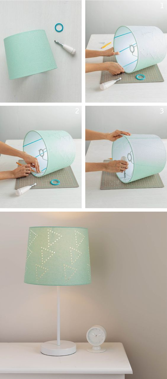 Revamp an old lamp shade by creating your own perforated design ...