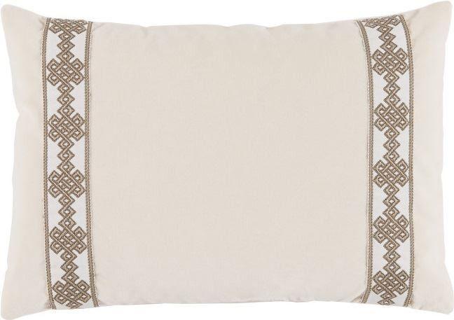 Fleece Velvet 13x19 Lumbar Pillow with Amalfi Natural Tape