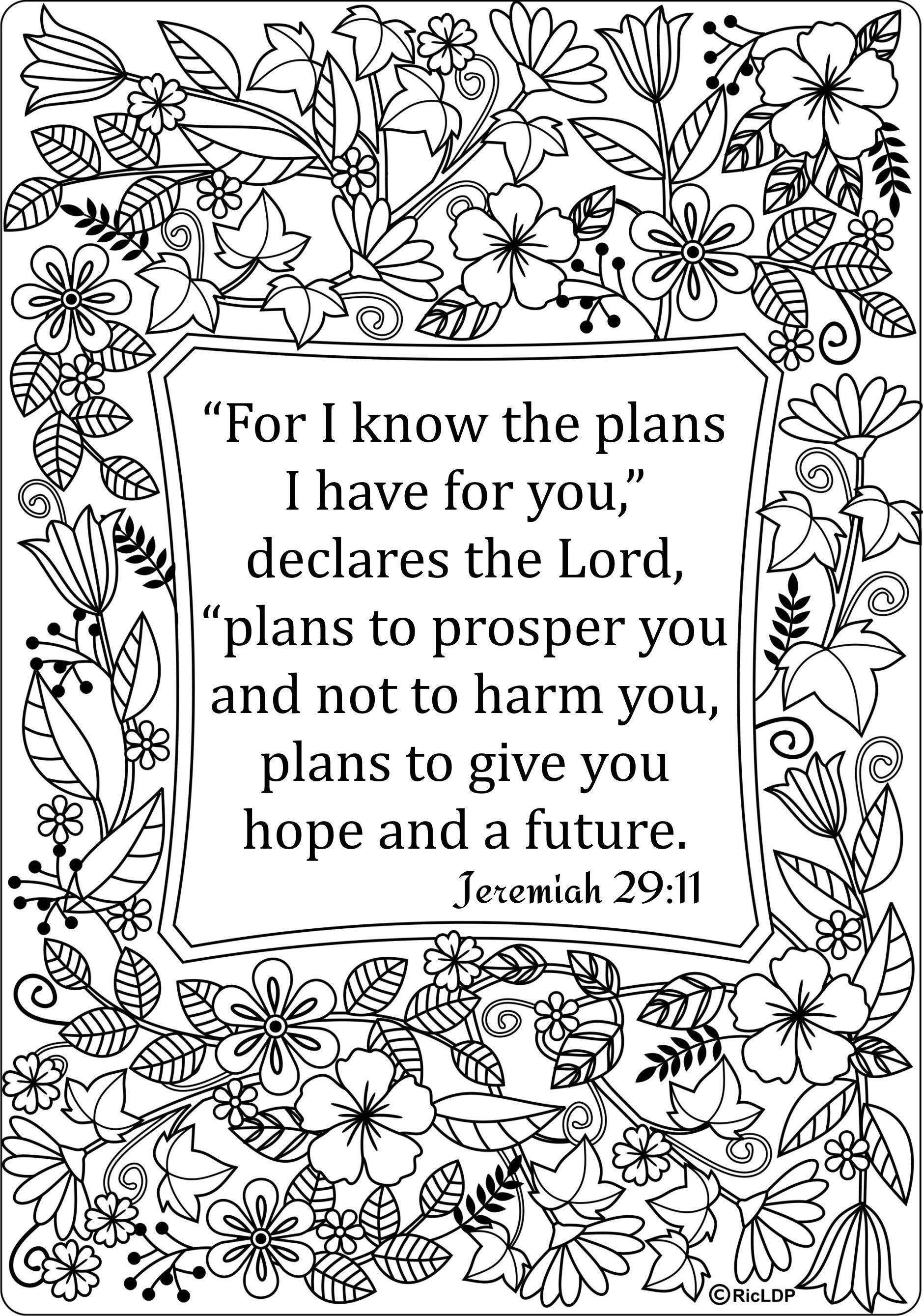 8 Coloring Page Jeremiah 29 11 Bible Coloring Pages Bible Verse Coloring Page Scripture Coloring
