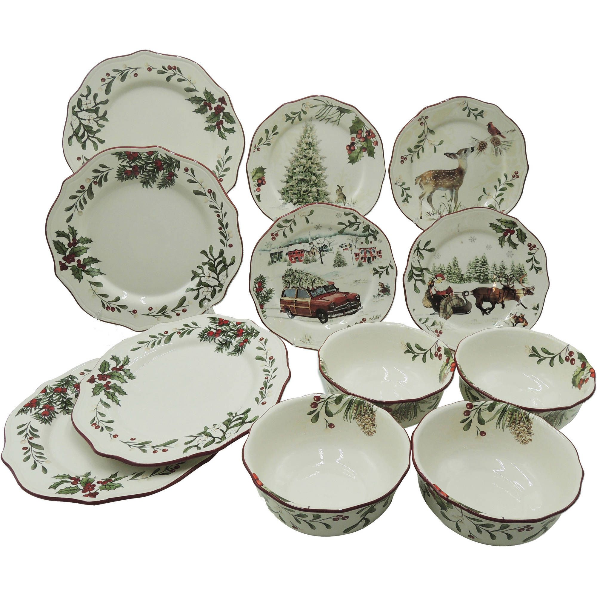 better homes and gardens heritage 12 piece dinnerware set walmartcom christmas dinner - Christmas China Sets