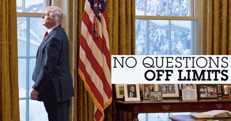 """ABC teases Trump interview with fake image — ripped from the New Yorker? It shows Trump looking out the Oval Office window with the caption, """"No Questions Off Limits."""""""
