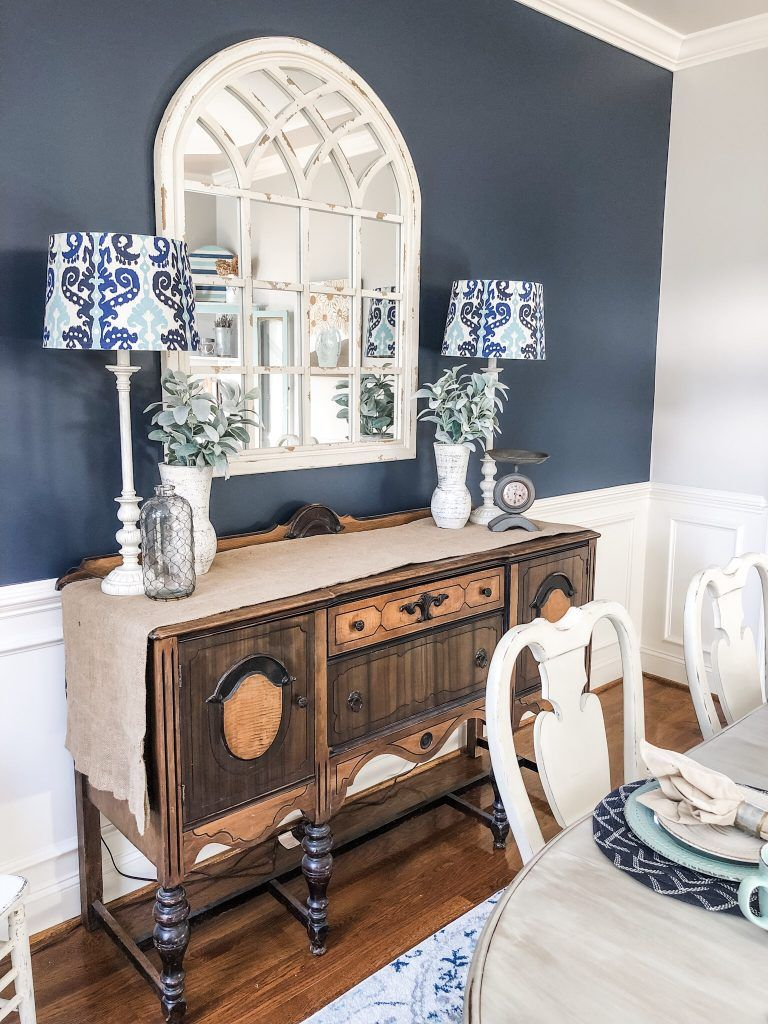 Navy Paint On An Accent Wall Brought A Bold Pop To My Dining Room Transformation Accent Walls In Living Room Dining Room Accent Wall Blue Accent Walls #painting #living #room #accent #walls
