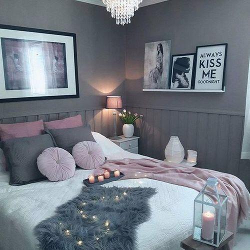 Chambre Girly Chaleureuse Tons Gris Et Roses Peau Synthetique