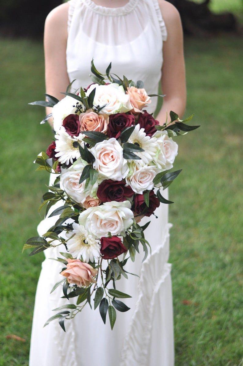 Wedding Bouquet, Bridal Flowers, Blush Roses, Burgundy Roses, Silk Flower Wedding Bouquet.