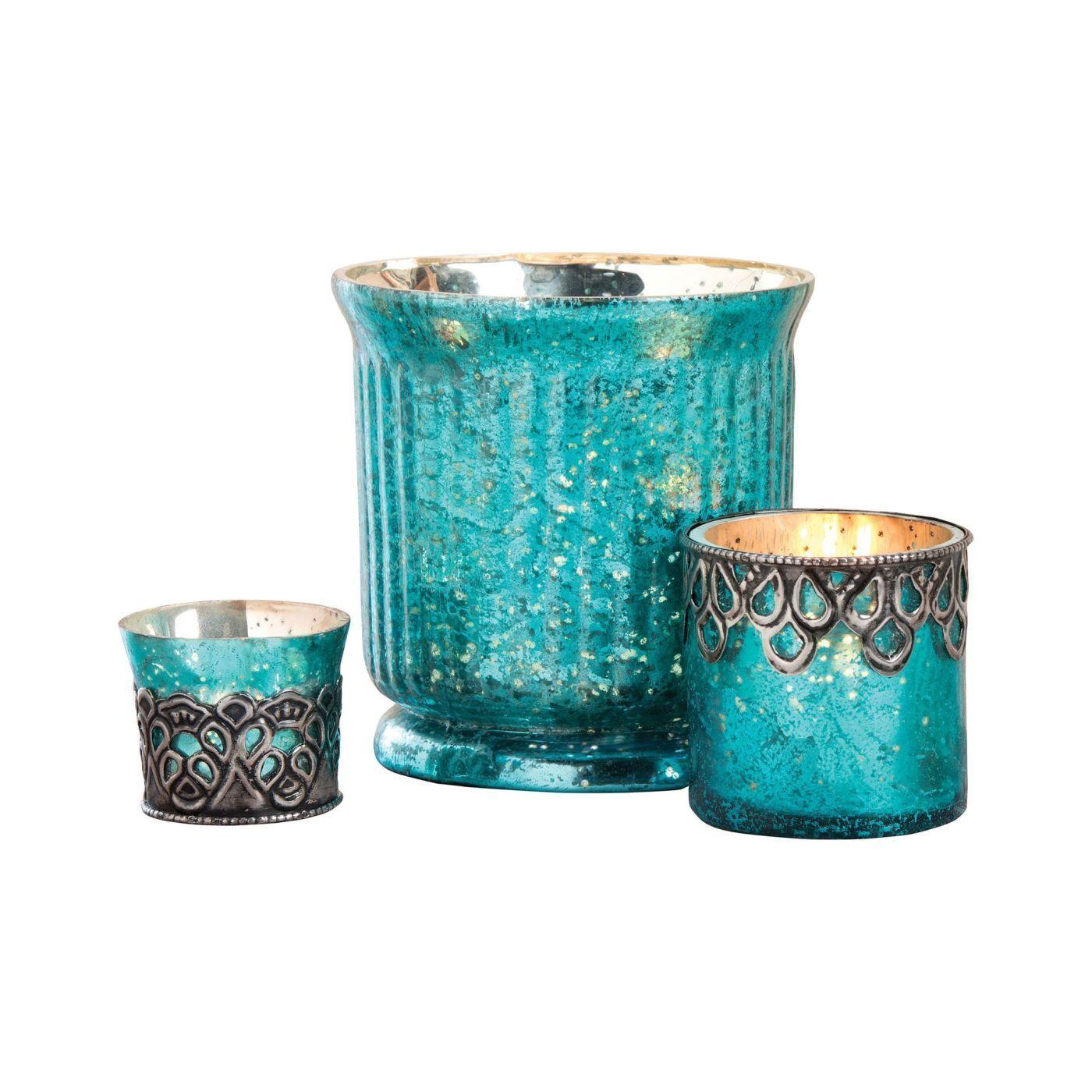 Audrey Set of 3 Votives Antique Turquoise Artifact,Silver