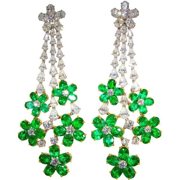 129f1027c3117e Pendant style emerald diamond gold earrings ($19,950) ❤ liked on Polyvore  featuring jewelry, earrings, emerald green earrings, dia…