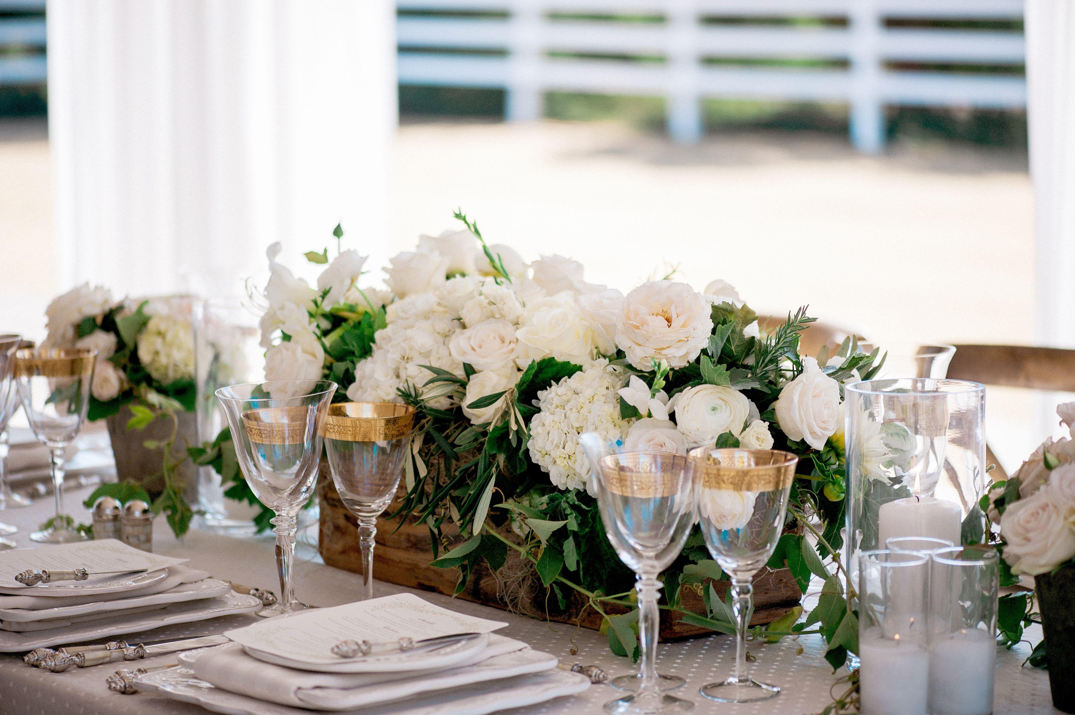 Ivory Flower and Greenery Centerpiece | Wedding | Pinterest ...