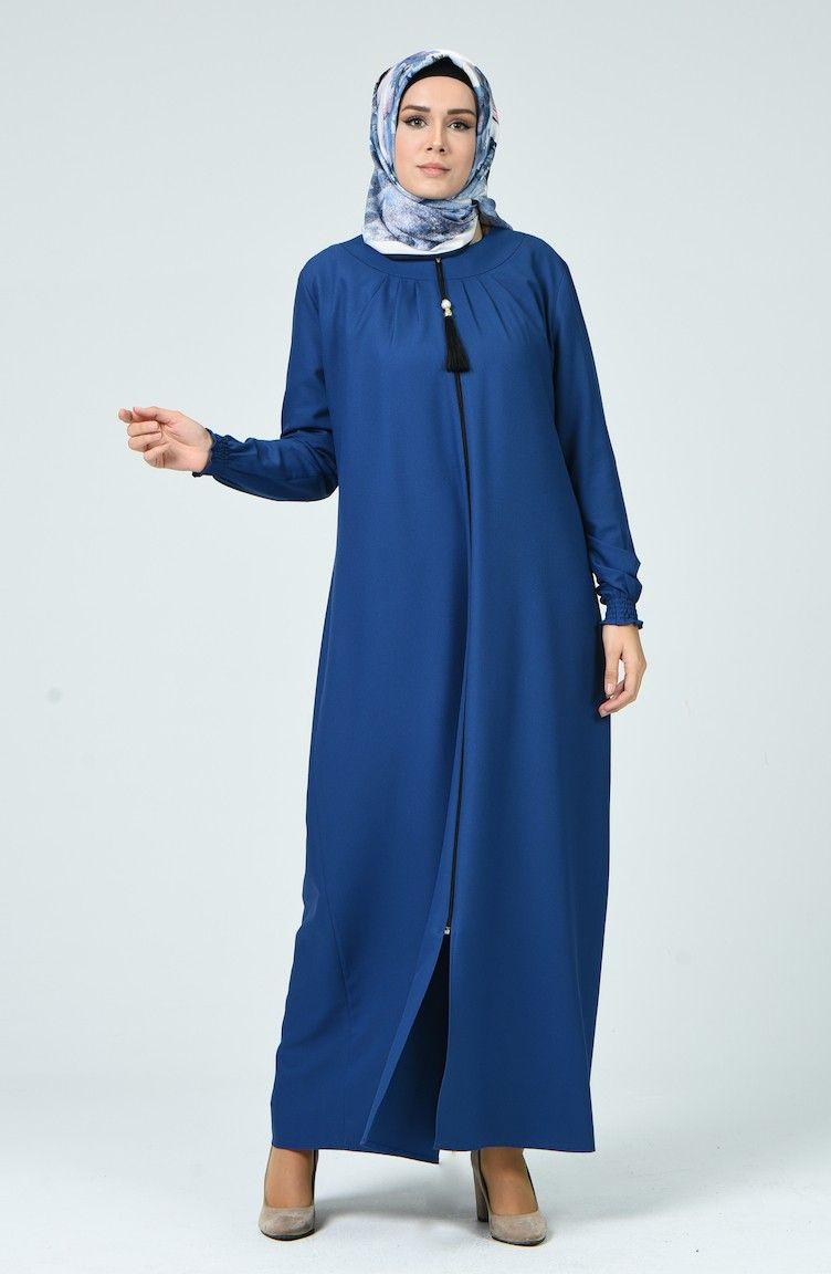 عباية بتصميم طيات لون نيلي شيك هانم Embroidered Jean Jacket Embroidered Jeans Blue Accessories