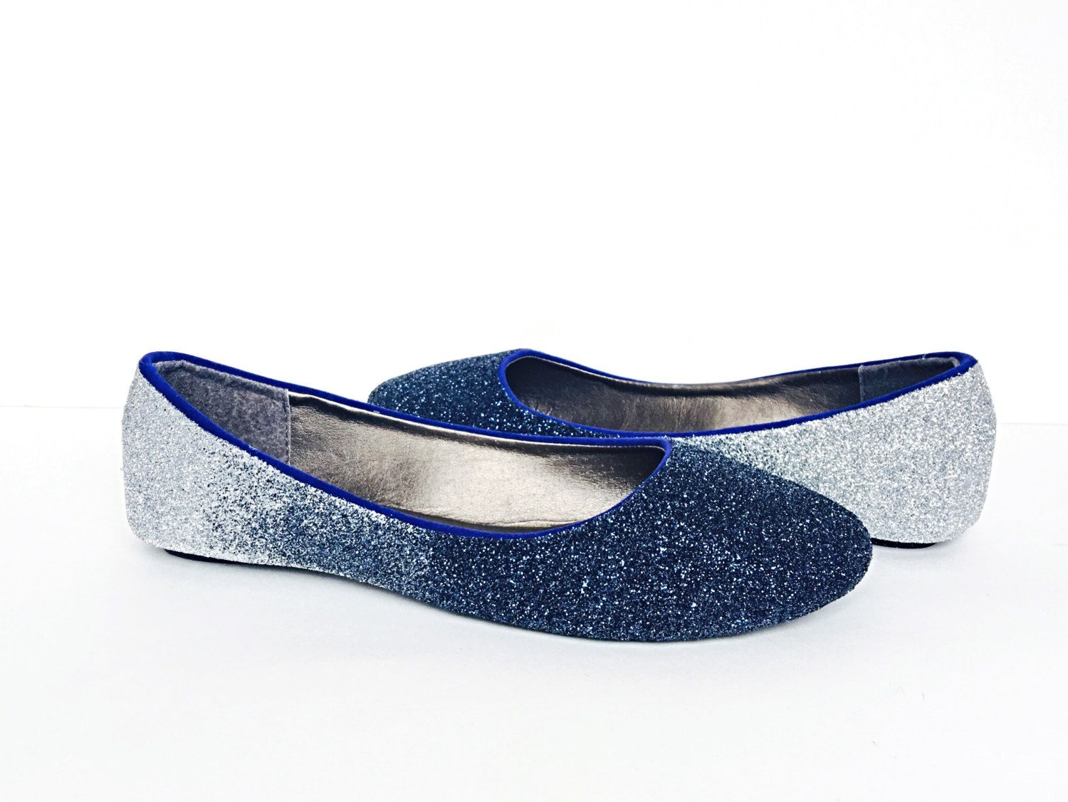 Glitter Flats Navy Blue Silver Ombre Fade Shoes Something Wedding