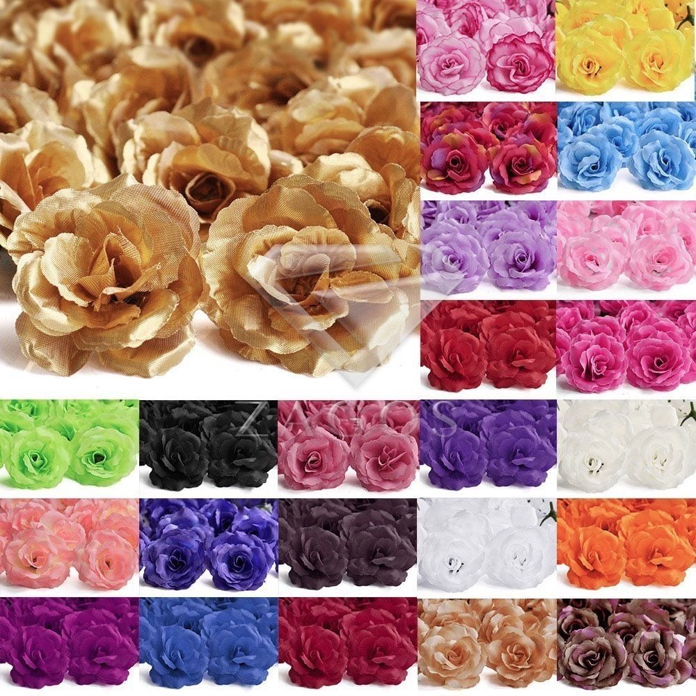 Knitted wedding decorations  pcs Artificial Big Rose Head Flowers Bride Bouquets Wedding