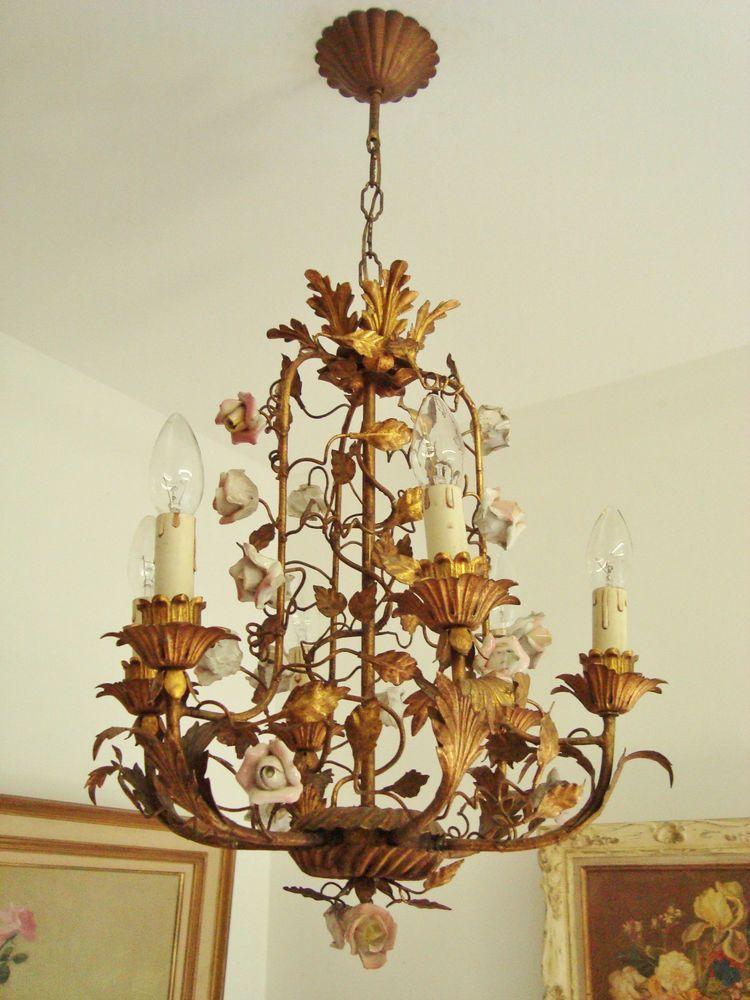 Vintage Italian Floine Ceramic Roses Cage Chandeler Light Gold Tole