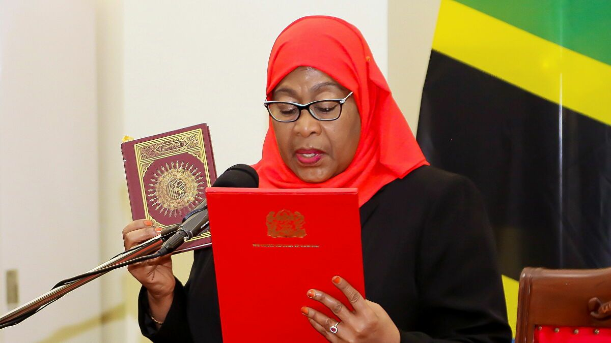 Samia Suluhu Hassan   Oath   Holding Quran