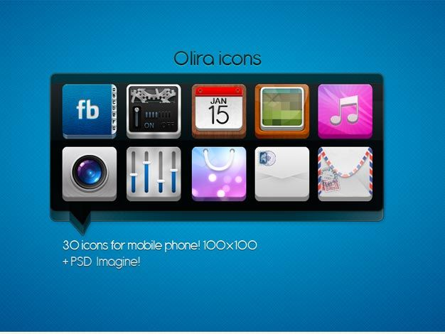 Download here Free 30 PSD Icons For Mobile Phone