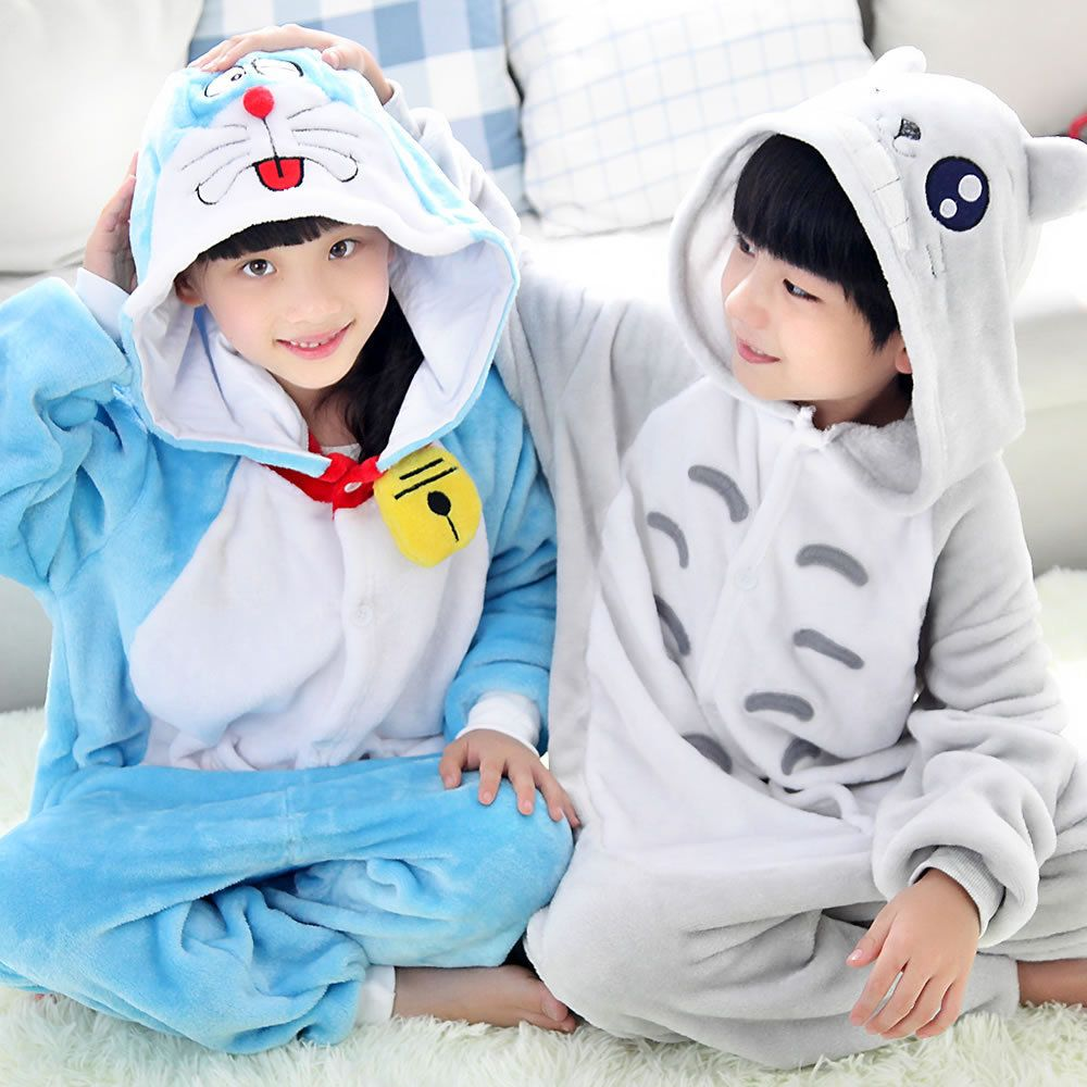 350e14894b Wedtrend Children Kids Girls Boys Unisex Warm Soft Pajamas Nightgown  Costumes Animal Onesies Home Sleepwear Cute Doraemon Totoro