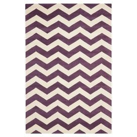Wool Rug With A Purple And Ivory Chevron Motif Hand Tufted In India Product Rugconstruction Material Woolcolo Chevron Area Rugs Purple Area Rugs Area Rugs