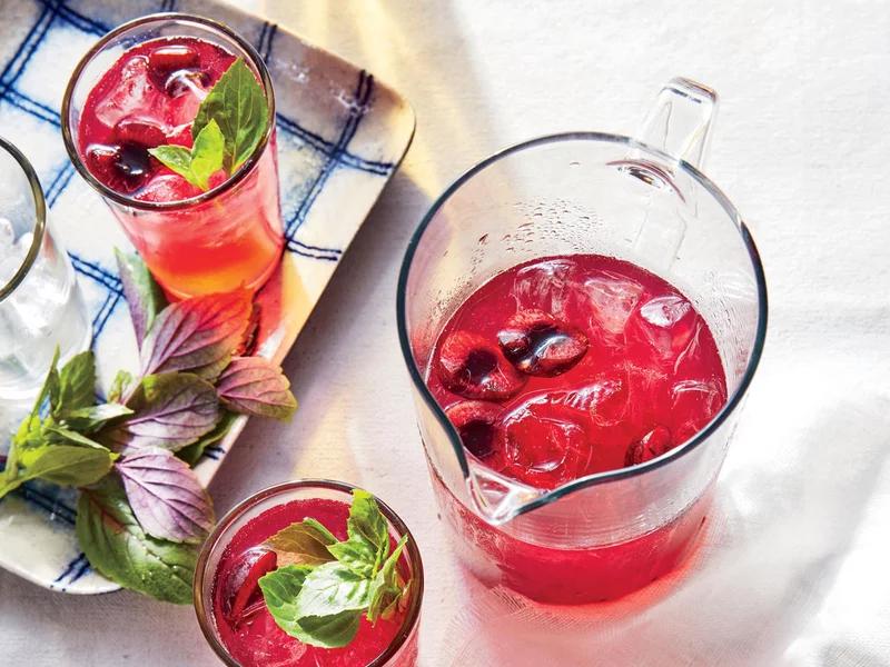 ck-Cherry-Basil Lemonade Spritzers #basillemonade