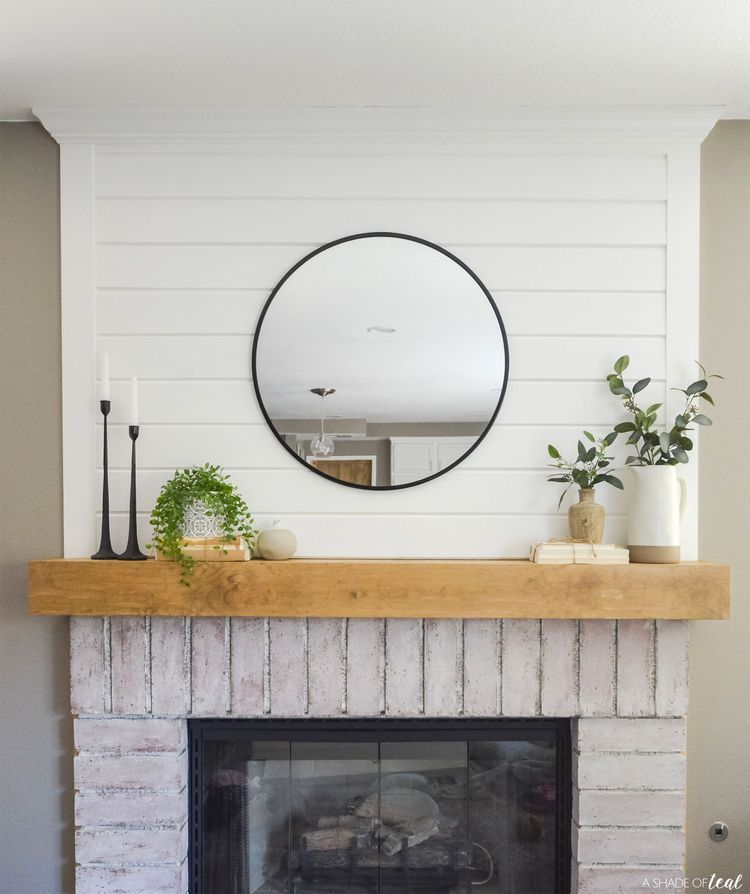 Modern Rustic Fireplace Makeover: How to Add Shiplap #shiplap #shiplapwalls #shiplapfireplace #shiplapbathroom #accent #accentwall #accentchairs #accentwallideas #accenttable