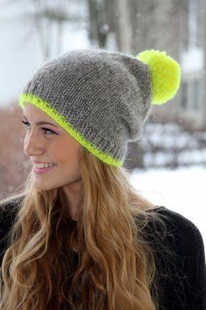 Slouchy Beanie, Icelandic wool hat, Grey, neon yellow pom pom, Cozy ...