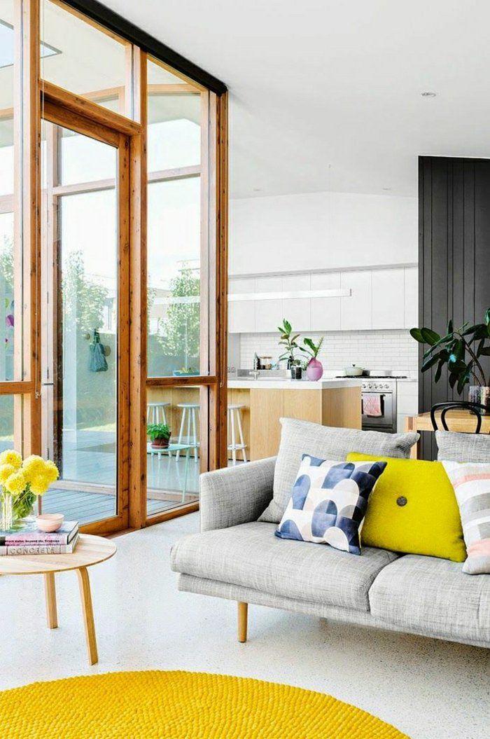 Wohnzimmer Einrichten Gestalten Wohnideen Design Gelber Teppich