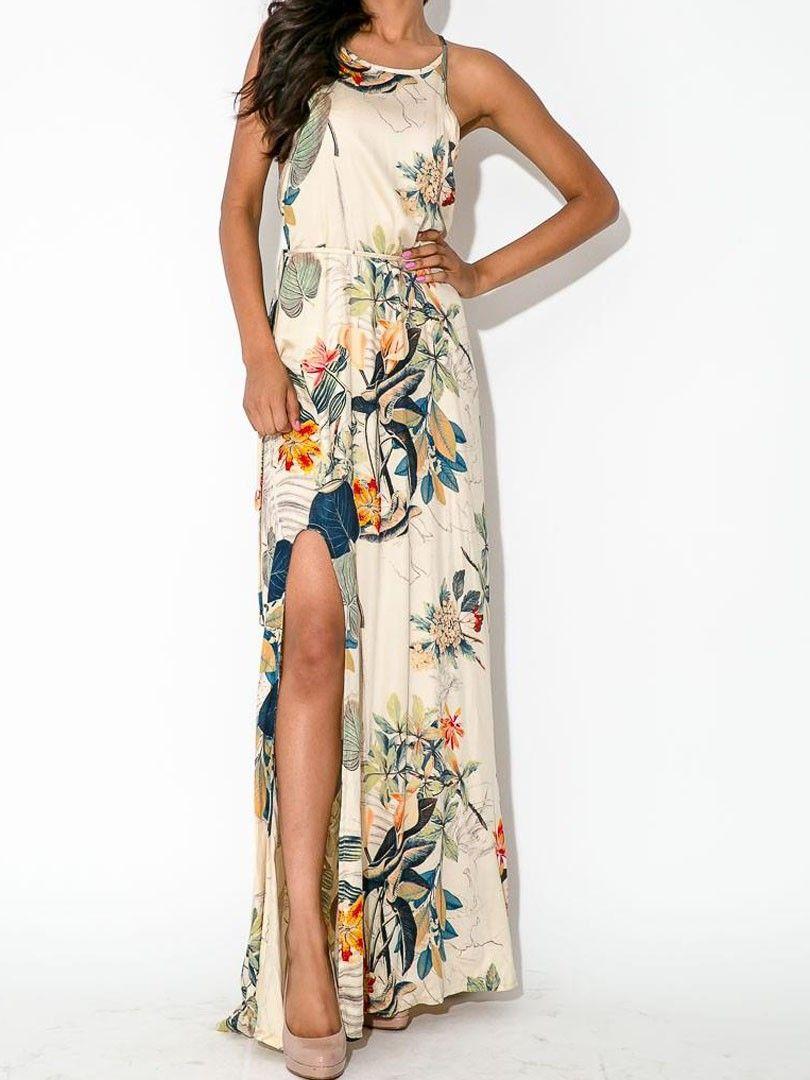 Multicolor Floral Leaves Print Split Side Maxi Dress Choies Com Maxi Dress Chiffon Dress Long Side Split Maxi Dress [ 1080 x 810 Pixel ]